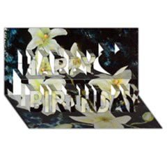 Bright Lilies Happy Birthday 3d Greeting Card (8x4)  by timelessartoncanvas