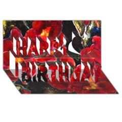 Red Orchids Happy Birthday 3d Greeting Card (8x4)