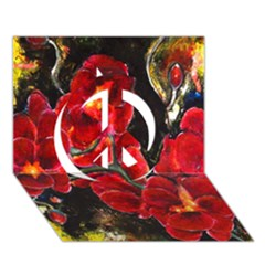 Red Orchids Peace Sign 3d Greeting Card (7x5)