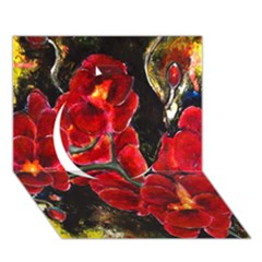 Red Orchids Circle 3d Greeting Card (7x5)