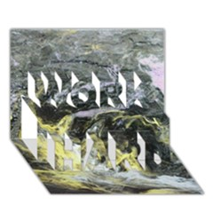 Black Ice Work Hard 3d Greeting Card (7x5)