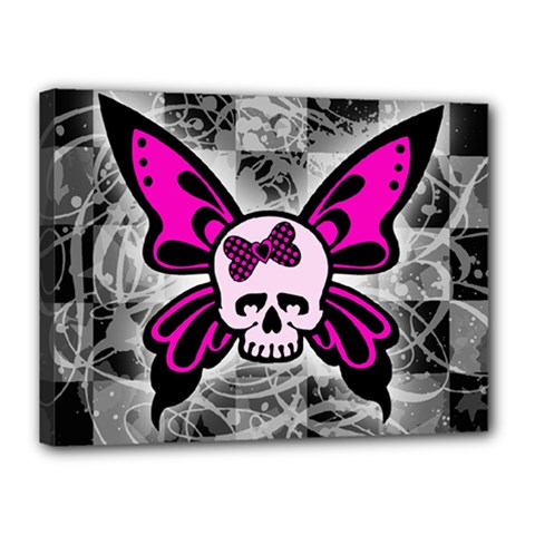 Skull Butterfly Canvas 16  X 12  by ArtistRoseanneJones