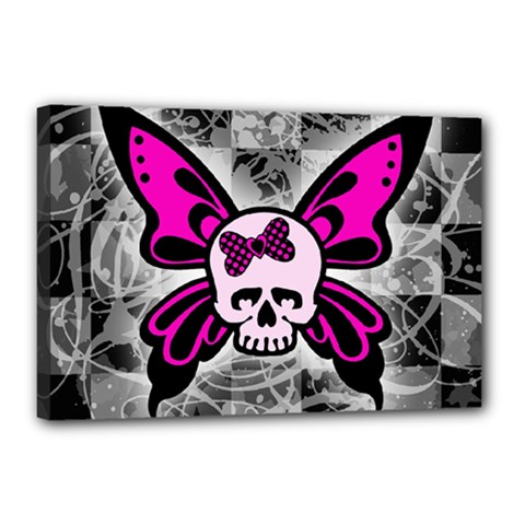 Skull Butterfly Canvas 18  X 12  by ArtistRoseanneJones