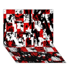 Emo Checker Graffiti Love 3d Greeting Card (7x5)  by ArtistRoseanneJones
