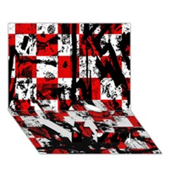Emo Checker Graffiti Love Bottom 3d Greeting Card (7x5)  by ArtistRoseanneJones