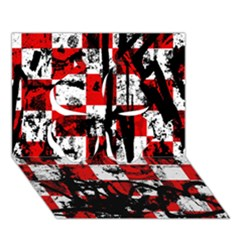 Emo Checker Graffiti Clover 3d Greeting Card (7x5)  by ArtistRoseanneJones