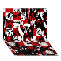 Emo Checker Graffiti Ribbon 3d Greeting Card (7x5)  by ArtistRoseanneJones