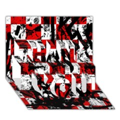 Emo Checker Graffiti Thank You 3d Greeting Card (7x5)  by ArtistRoseanneJones