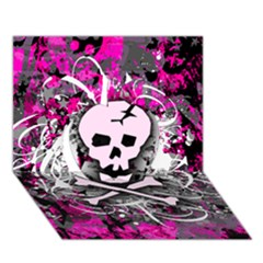 Pink Skull Splatter Apple 3d Greeting Card (7x5)  by ArtistRoseanneJones