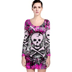Pink Skull Splatter Long Sleeve Bodycon Dresses by ArtistRoseanneJones