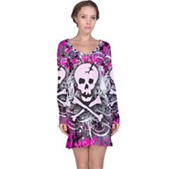 Pink Skull Splatter Long Sleeve Nightdresses by ArtistRoseanneJones