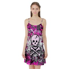 Pink Skull Splatter Satin Night Slip by ArtistRoseanneJones