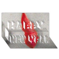 Lips Happy New Year 3d Greeting Card (8x4)  by theimagezone