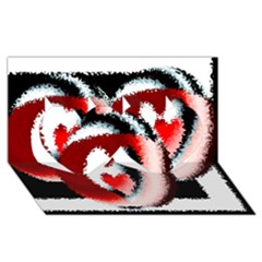 Heart Time 3 Twin Hearts 3d Greeting Card (8x4)