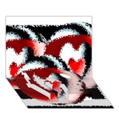 Heart Time 3 Love Bottom 3d Greeting Card (7x5)
