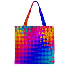 Totally Trippy Hippy Rainbow Zipper Grocery Tote Bags by KirstenStar