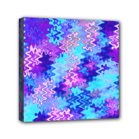 Blue And Purple Marble Waves Mini Canvas 6  X 6  by KirstenStar