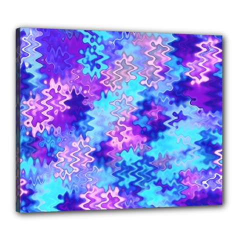 Blue And Purple Marble Waves Canvas 24  X 20  by KirstenStar