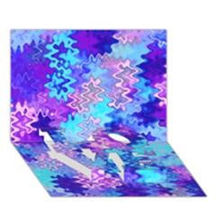 Blue And Purple Marble Waves Love Bottom 3d Greeting Card (7x5)