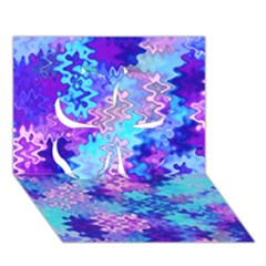 Blue And Purple Marble Waves Clover 3d Greeting Card (7x5)  by KirstenStar
