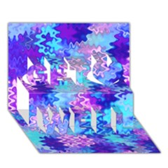 Blue And Purple Marble Waves Get Well 3d Greeting Card (7x5)  by KirstenStar