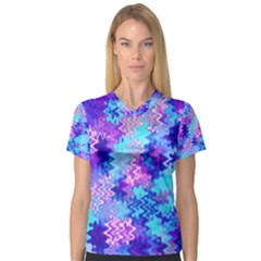 Blue And Purple Marble Waves Women s V Neck Sport Mesh Tee