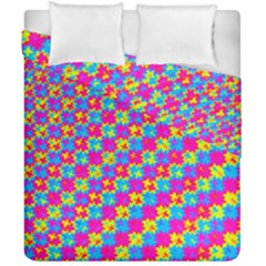 Crazy Yellow And Pink Pattern Duvet Cover (double Size) by KirstenStar