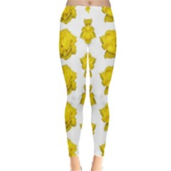 Yellow Rose Patterned Print Leggings  by dflcprints