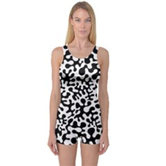 Black And White Blots One Piece Boyleg Swimsuit