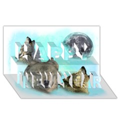 Wolves Shiney Grim Moon 3000 Happy New Year 3D Greeting Card (8x4)