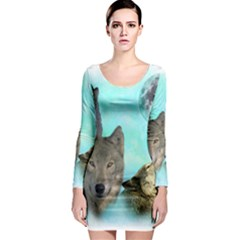 Wolves Shiney Grim Moon 3000 Long Sleeve Bodycon Dresses