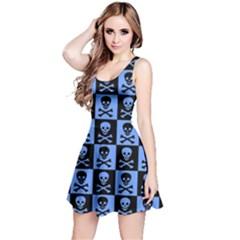 Blue Skull Checkerboard Reversible Sleeveless Dresses