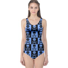 Blue Skull Checkerboard Women s One Piece Swimsuits