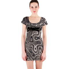 Tile Reflections Alien Skin Dark Short Sleeve Bodycon Dresses