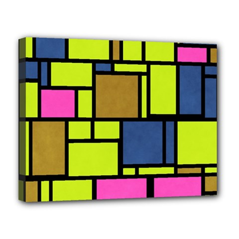 Squares And Rectangles Canvas 14  X 11  (stretched) by LalyLauraFLM