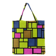 Squares And Rectangles Grocery Tote Bag by LalyLauraFLM