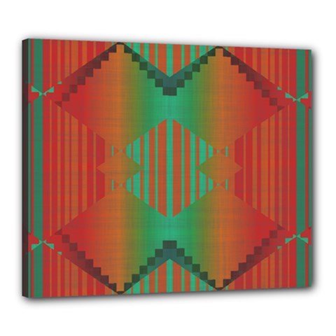 Striped Tribal Pattern Canvas 24  X 20  (stretched) by LalyLauraFLM