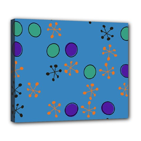 Circles And Snowflakes Deluxe Canvas 24  X 20  (stretched) by LalyLauraFLM
