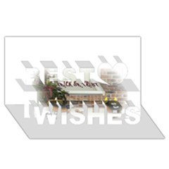 Black Ghoulish Pumpkins In White Matte Best Wish 3d Greeting Card (8x4)