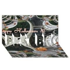 Creepy Pumpkin Fractal Best Bro 3d Greeting Card (8x4)