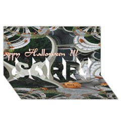 Creepy Pumpkin Fractal Sorry 3d Greeting Card (8x4)  by gothicandhalloweenstore