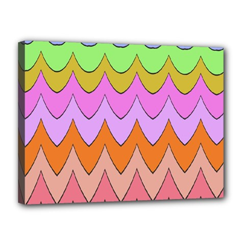 Pastel Waves Pattern Canvas 16  X 12  (stretched) by LalyLauraFLM