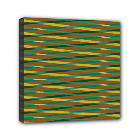 Diagonal Stripes Pattern Mini Canvas 6  X 6  (stretched) by LalyLauraFLM