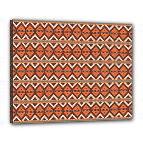 Brown Orange Rhombus Pattern Canvas 20  X 16  (stretched) by LalyLauraFLM