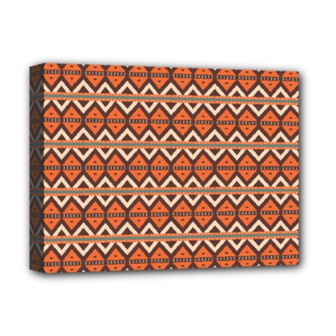 Brown Orange Rhombus Pattern Deluxe Canvas 16  X 12  (stretched)  by LalyLauraFLM