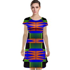 Distorted Shapes Pattern Cap Sleeve Nightdress by LalyLauraFLM