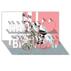 Under Construction Happy Birthday 3d Greeting Card (8x4)