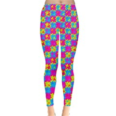 Crazy Yellow And Pink Pattern Women s Leggings by KirstenStarFashion