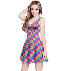 Crazy Yellow and Pink Pattern Reversible Sleeveless Dresses