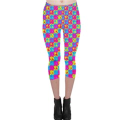 Crazy Yellow And Pink Pattern Capri Leggings by KirstenStarFashion